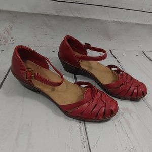 Clarks red sandals size 7.5